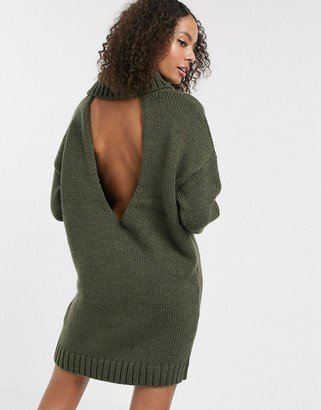 Asos Design DESIGN chunky mini dress with roll neck with open back-Green