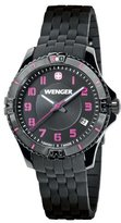 Wenger Squadron Women's Quartz Watch with Mother of Pearl Dial Analogue Display and Black Silicone Strap 010121105