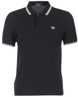 Fred Perry SLIM FIT TWIN TIPPED men's Polo shirt in Black