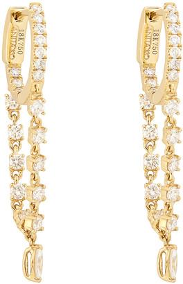 Anita Ko Single Chain Huggies with Marquis Diamond Drop Earring