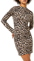 Warehouse Animal Print Funnel Neck Dress, Brown Print