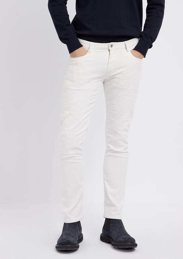 60794a7c03 Slim-Fit J06 Patched Bull Cotton Jeans