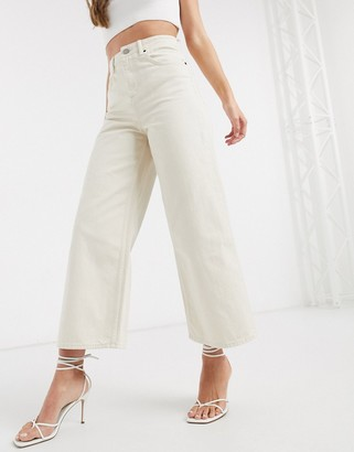 ASOS DESIGN premium wide leg jean in ecru