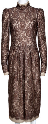 Dolce & Gabbana Brown Scalloped Lace Padded Long Sleeve Midi Dress M