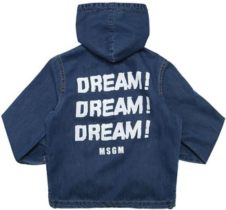 MSGM Printed Cotton Denim Hooded Zip Jacket
