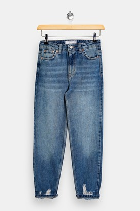 Topshop Womens Petite Mid Stone Ripped Mom Tapered Jeans - Mid Stone