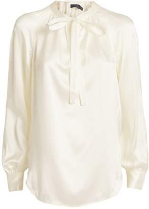 Polo Ralph Lauren Silk Satin Tie-Neck Blouse
