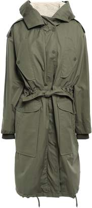 Sandro Arbia Faux Shearling-lined Cotton-canvas Hooded Parka