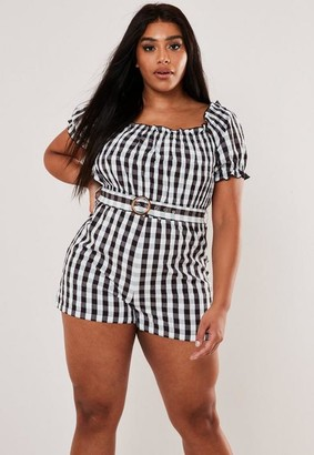 Missguided Plus Size White Plaid Belted Playsuit