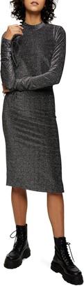 Topshop Glitter Open Back Midi Cocktail Dress