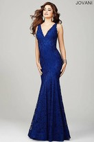 Jovani Sleeveless Fitted Lace Dress In Navy 33050
