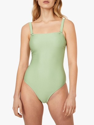 Warehouse Square Neck Ribbed Swimsuit, Light Green