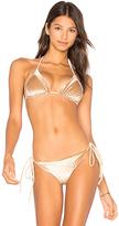 Frankie's Bikinis Frankies Bikinis Knot Top in Beige. - size M (also in XS)