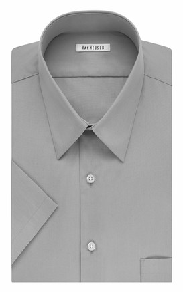 Van Heusen mens Tall Fit Short Sleeve Poplin Solid (Big and Tall) Dress Shirt