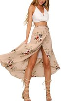 Cocobla Women Boho Floral Beach Maxi Skirt Wrapped Swimsuit Cover Up Dress (L, )