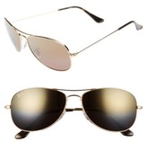 Ray-Ban Men's 59Mm Polarized Aviator Sunglasses - Shiny Gold/brown Mirror Gold
