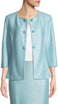 St. John Glitter Sequin Knit 3/4-Sleeve Jacket