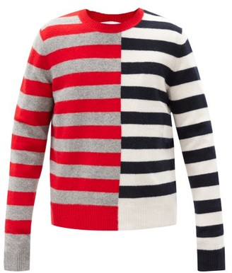 Helmut Lang Contrast-striped Wool-blend Sweater - Red Multi