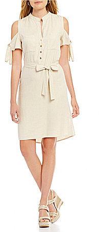 Antonio Melani Brick Cold Shoulder Twill Dress