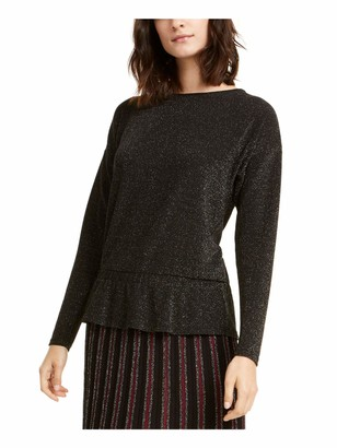 Alfani Womens Black Shimmering Long Sleeve Jewel Neck Evening Top UK Size: L