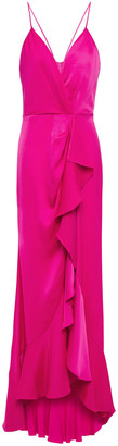 Jay Godfrey Elsie Draped Ruffled Satin-crepe Gown
