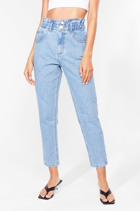 Nasty Gal Womens Wash Me Roll Paperbag Mom Jeans - Blue - 6