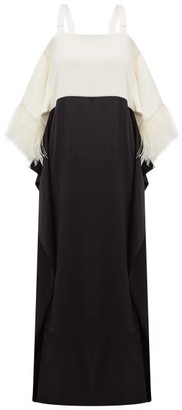 Burberry Feather-embellished Silk-blend Satin Gown - White Black