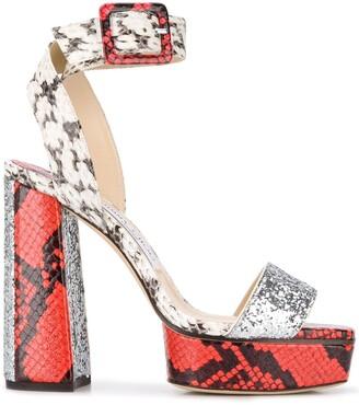 Jimmy Choo Jax 125mm snakeskin-effect sandals