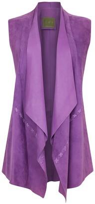 Zut London Suede Leather Sleeveless Jacket - Purple Lilac