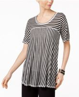 NY Collection Mixed-Stripe High-Low T-Shirt