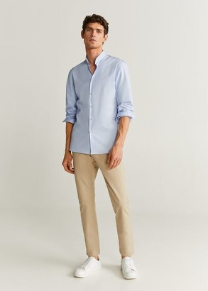 MANGO MAN - Slim fit Mao collar shirt sky blue - XS - Men