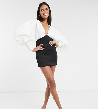 True Violet exclusive plunge-neck balloon-sleeved mini dress in monochrome