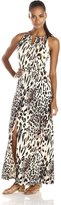 Sandra Darren Women's Sleeveless Animal Print Keyhole Maxi Dress, Neutral/Black
