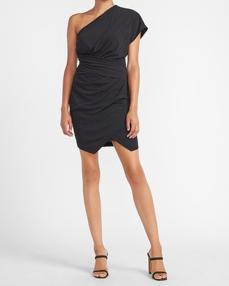 Express One Shoulder Pleated Wrap Sheath Dress