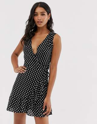 AllSaints krystal valentine heart print wrap dress-Black