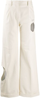 Off-White Cut Out Flared Leather Trousers