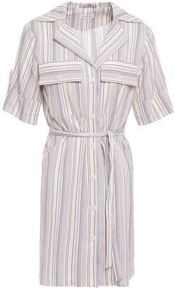 Claudie Pierlot Striped Crinkled Cotton-blend Mini Shirt Dress