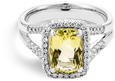 John Hardy Sterling Silver Batu Classic Chain Lemon Quartz Ring with Diamonds