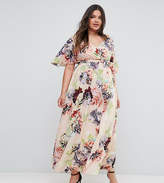 Asos Wedding Print Soft Flutter Sleeve Maxi Dress
