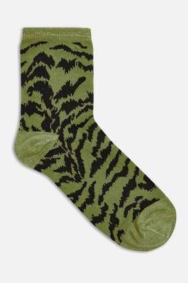 Topshop Womens Khaki Zebra Jacquard Socks - Khaki