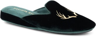 Patricia Green Antler Embroidered Slipper