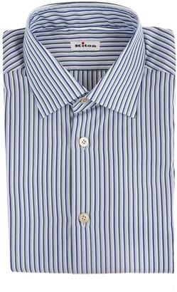 Kiton Man Regular Fit Shirt With Triple Multicolor Thin Stripes