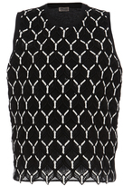 Giambattista Valli Cotton Macramé Sleeveless Blouse