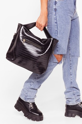 Nasty Gal Womens WANT Love on Croc Faux Leather Tote Bag - Black