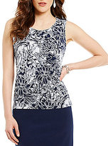 Kasper Pleat Neck Sleeveless Straight Hem Printed Top