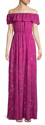 Rachel Zoe Clea Off-The-Shoulder Burnout Gown
