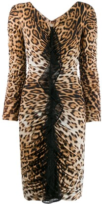 Roberto Cavalli leopard-print gathered dress