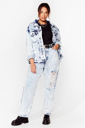 Nasty Gal Womens We're Keeping a Wash Out Plus Mom Jeans - Bleach Wash
