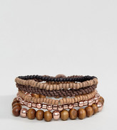 ICON BRAND Wood & Cord Bracelets In Pack