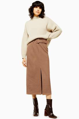 Topshop Womens Brown Check Belted Pencil Skirt - Brown